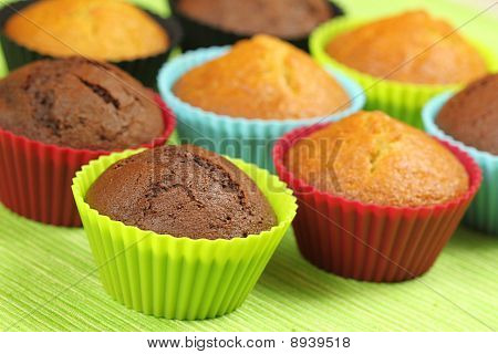 Muffins In Colorful Moulds