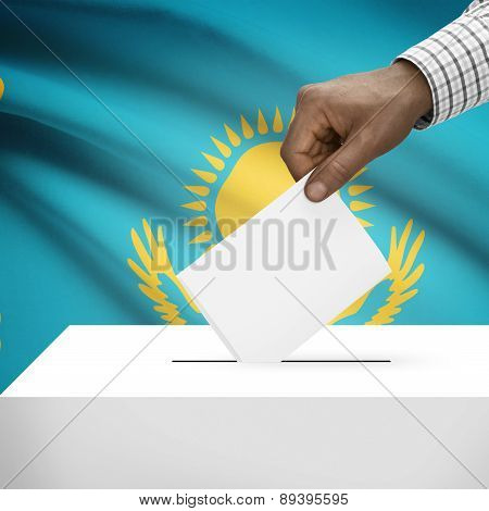 Ballot Box With National Flag On Background - Kazakhstan