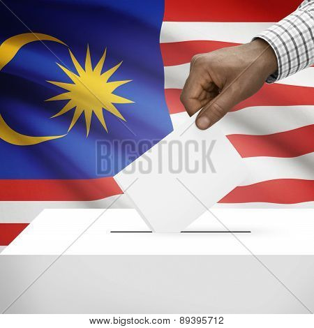 Ballot Box With National Flag On Background - Malaysia