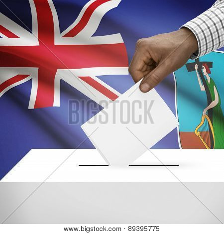 Ballot Box With National Flag On Background - Montserrat
