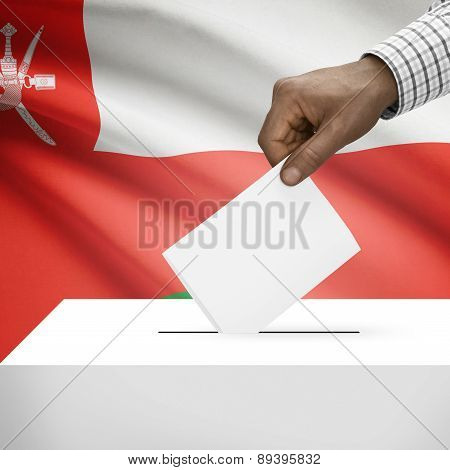 Ballot Box With National Flag On Background - Oman
