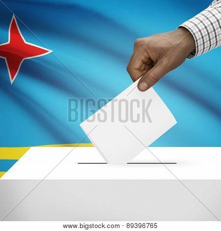 Ballot Box With National Flag On Background - Aruba
