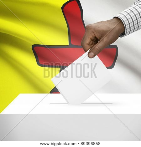 Voting Concept - Ballot Box With Canadian Province Flag On Background - Nunavut