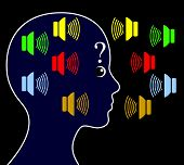 Schizophrenic person may hear voices other people do not hear and get paranoid poster
