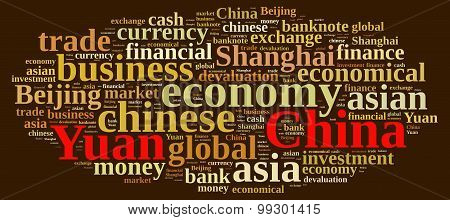 Illustration with word cloud on the Chinese currency Yuan poster