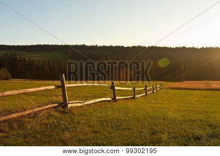 Rural Landscape On Sunset