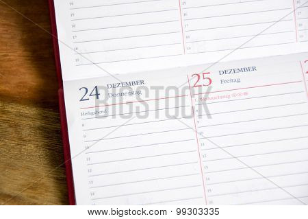 a calender is showing the Christmas day