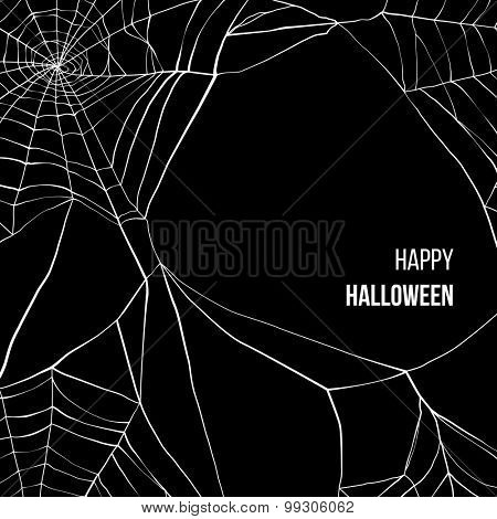 Black background with spider web and place for your text