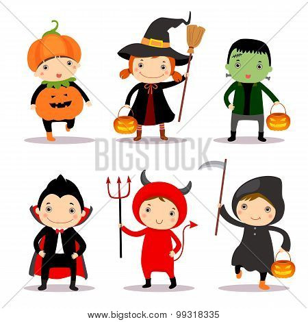 Cute kids wearing halloween costumes