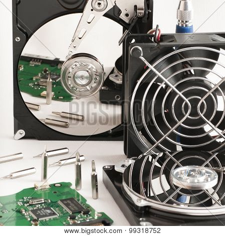 Details Of Hard Disk Drive Open And A Fan