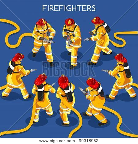 Firefighters People Isometric