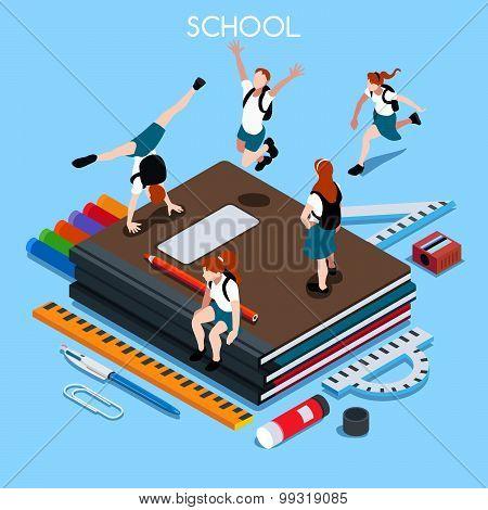 School Set People Isometric
