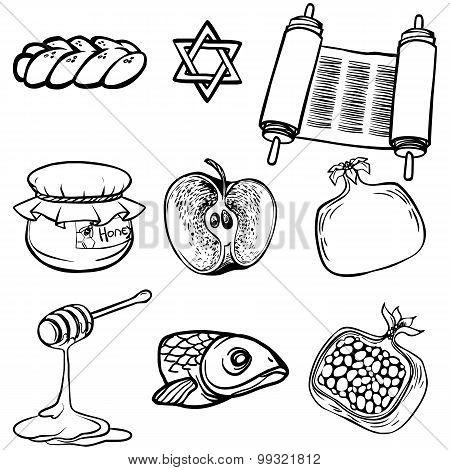 Symbols Of Rosh Hashanah (jewish New Year). Vector Illustration Iconset