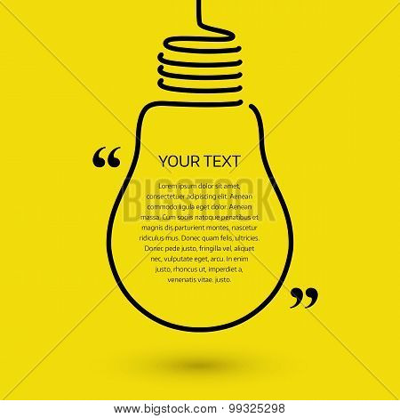 Lightbulb text bubble, concept idea. Vector