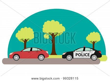 Police car pursuing criminals exceeded speed. Vector illustration