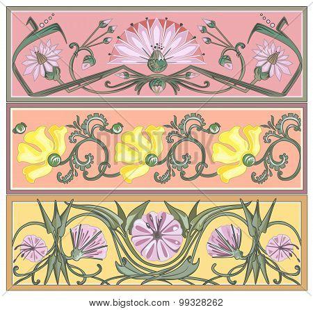 Set Of Art-nouveau Ornaments