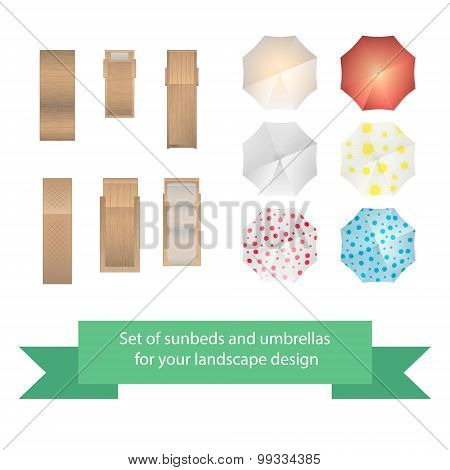 Set of vector sunbeds and umbrellas.