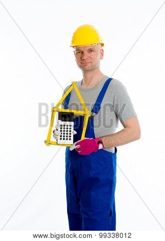 Friendly Worker With Yardstick And Pocket Calculator