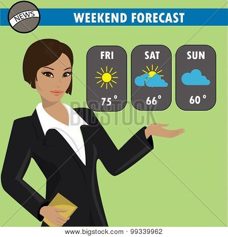 A Vector Illustration Of A Tv Weather Reporter At Work.
