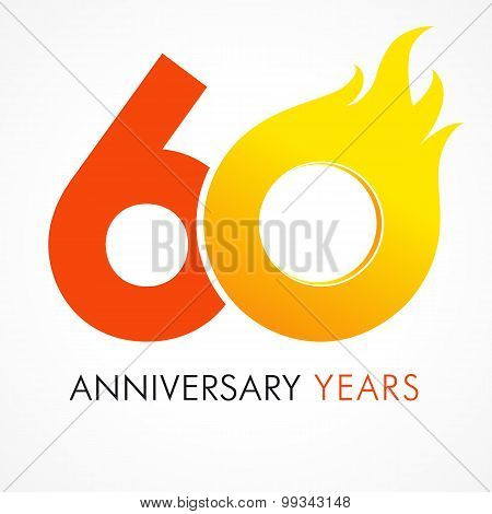 60 years old celebrating fiery logo. Anniversary flamed year of 60 th. Vector template flamy 0 numbers. Happy birthday flaming greetings celebrates. Hot digits of jubilee gold colored ages and flames. poster