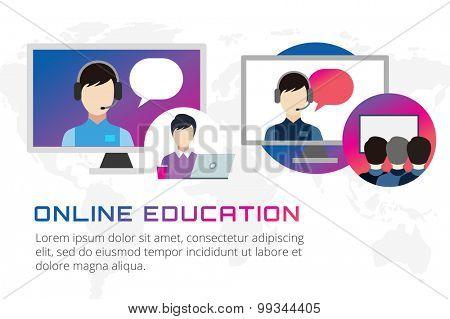 Online education vector illustration. Webinar, school, university courses. Students, people silhouette and online education objects. Man silhouette. Abstract people. Teambuilding. Group of people