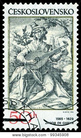 Vintage  Postage Stamp. Lute Player.