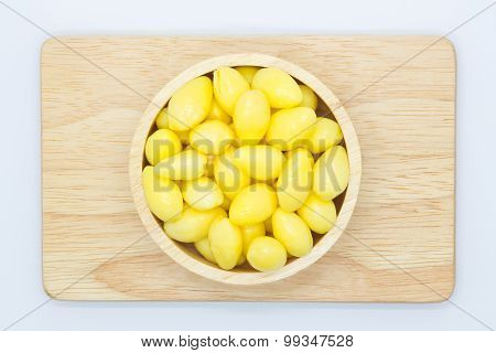 Fresh Ginkgo nut on white