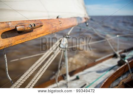 Classic Wooden Sailboat Sprit And Mast. Sailing Buenos Aires, South American Adventure.