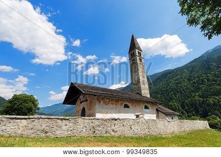 Ancient church of Sant'Antonio Abate (XV century) in Pelugo Val di Fassa Trento Italy poster