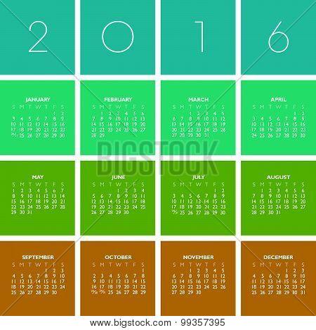 2016 Creative Colorful Calendar