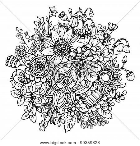 Beautiful Monochrome Vector Floral Pattern