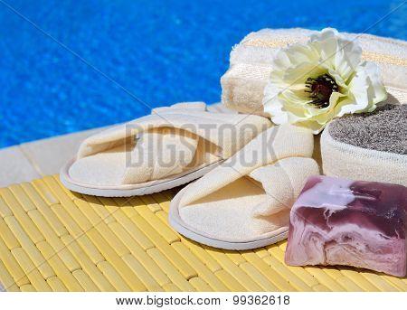 Natural Bath Sponges, Bath Slippers, Handmade Soap And Flower