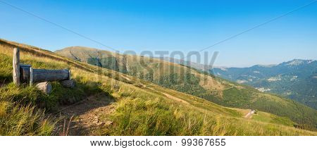 Swiss mountain landscape, vast pasture for crude