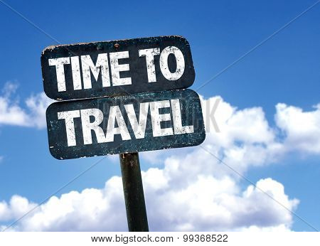 Time To Travel sign with sky background