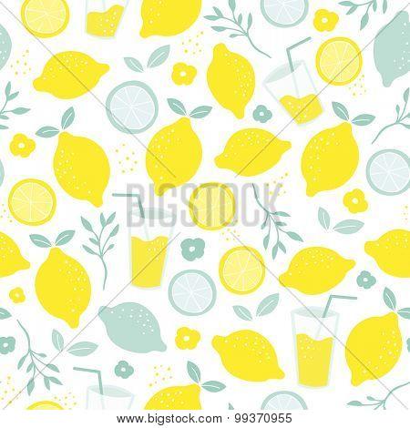 Seamless citrus fruit lemon juice mocktail lemonade illustration backgrounf pattern isolated on white in vector