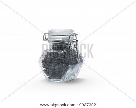 jar of small dark brown shells