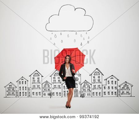 smiley woman with red umbrella under drawing storm cloud in the drawing city