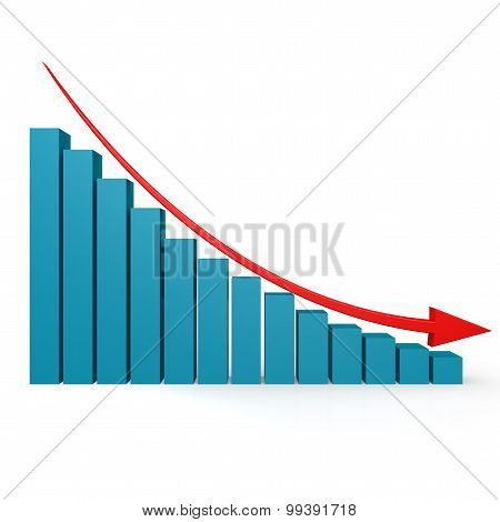 Blue Graph And Red Arrow Down