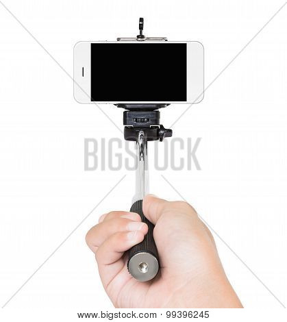 Hand Holding Selfie Stick Isolated White Clipping Path Inside