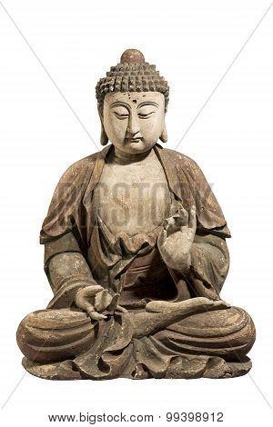 Buddha Old Antique Carved And Painted Isolated