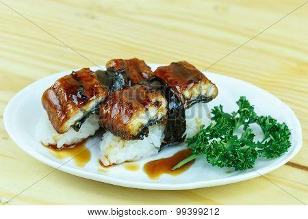 Traditional Japanese Food, Eel (unagi) Nigiri Sushi Or Unagi Kabayaki