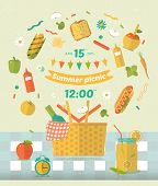Family picnic glade illustration. Food and pastime icons. Flat. Barbecue object picnic items. Design of invitation card. poster
