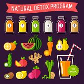 Set of organic food with different detox programm represented in special bottles. Fully editable vector illustration. Perfect for detox programm illustrations. poster