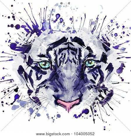 tiger T-shirt graphics, tiger eyes illustration with splash watercolor textured background. illustra