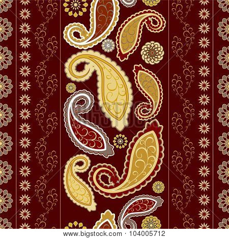 Stock Vector Seamless Floral Oriental Doodle Pattern. Border