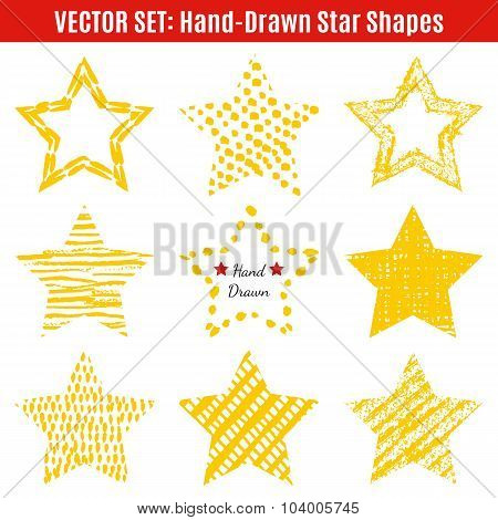 Set of hand-drawn textures star shapes.  Vector illustration for