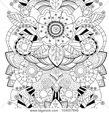 Stock Vector Seamless Floral Black And White Doodle Pattern. Border