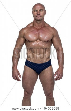 Portrait of shirtless athlete against white background poster