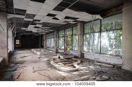 Old Corridor Perspective With Broken Ceiling
