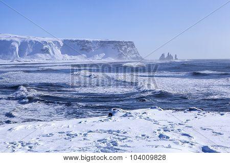 Wide Shot Of Three Pinnacles Of Vik, South Iceland